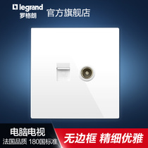 Luoglang Switch Socket Panel Classic White Yat-view computer TV network cable wall power plug 86 type