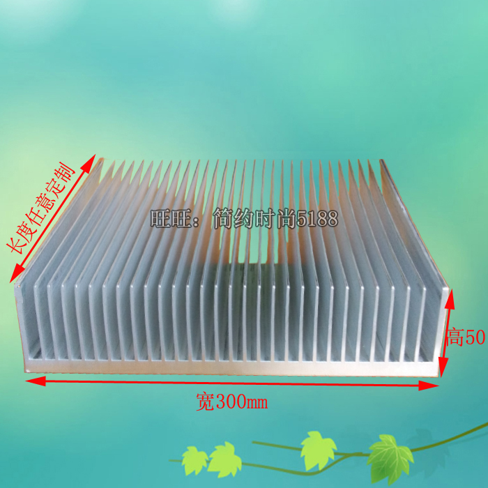 Heat sink amplifier radiator aluminum radiator width 300 height 50 length 100mm length can be customized