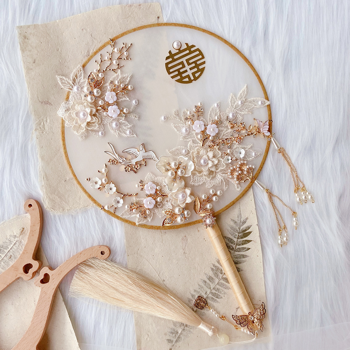 Small red book such as hand as the bride wedding group fan out wedding wedding fan handmade diy material bag