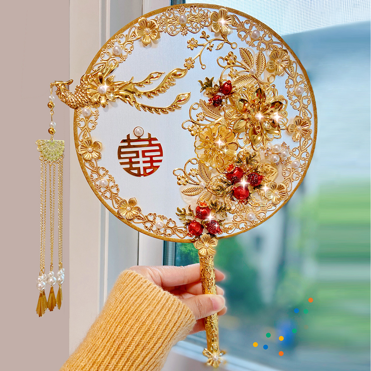 Bride Chinese wedding troupe fan ancient wind wedding fan show clothes fan hand holding flower fan DIY material bag