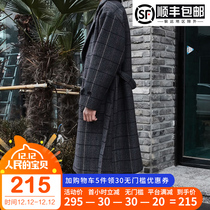 Mens Plaid Korean version thickened Inverness popular woolen coat