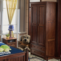 American Village Pure Solid wood childrens wardrobe two doors and four small small household type to do the old retro simple bedroom wardrobe