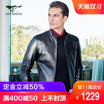 (11) seven wolves Leather Mens fashion business casual short sheepskin leather jacket Jacket Men