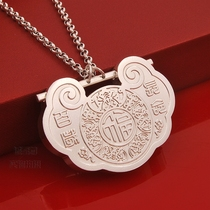 Solid sterling silver Ching Baby silver lock baby Full Moon gift silver childrens pendant free engraving