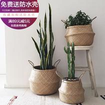 Nordic ins seaweed Woven Storage Basket folding Basket Tortoise Bamboo flowerpot Paradise Bird Piano Banyan Flower Basket