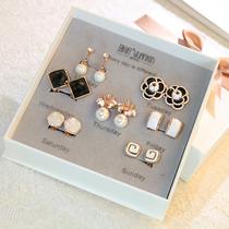 Week of the week set ear clip female ear-free hole simple 925 silver needle ear nail earrings personality Earrings Couple Gifts