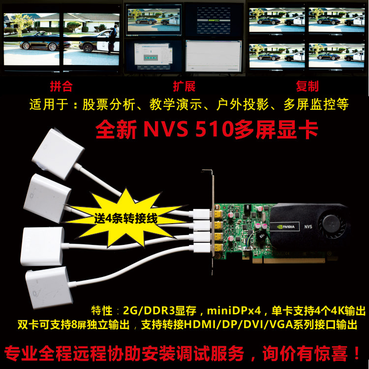 New NVIDIA nvs510 2G Multi-Screen Display Card 4-Screen 8-Screen Mosaic Extension Wiring