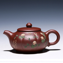 Yixing famous master full hand-made purple sand pot original mine clear water mud lucky long painted flower tea pot Tea set auction pick up leakage