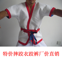 Chinese style 07 wrestling clothes clothes red and blue white section thick cotton wrestling clothes factory direct