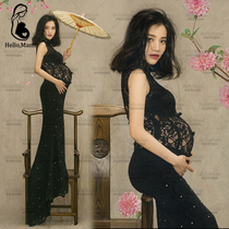 Rental of 2016 studios pregnant women photo clothing photo Costumes Big belly Mommy photo perspective lace fishtail Dress
