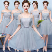 A new summer short bridesmaid dresses 2017 bridesmaids sister dress word shoulder dress wedding party dress