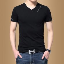 Men's short-sleeved T-shirt V-neck solid color summer men's half-sleeved clothes Korean version of the trend to practice the body shirt shirt shirt tide