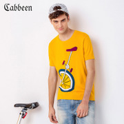 CABBEEN Mens T-shirt turtleneck sweater casual comfortable cotton short sleeve sweater coat sleeve T-shirt in summer half tide