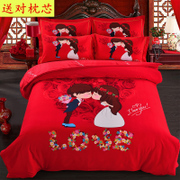 Wedding wedding cartoon cotton four piece of red cotton sanded 1.8m wedding bed sheet set of 4
