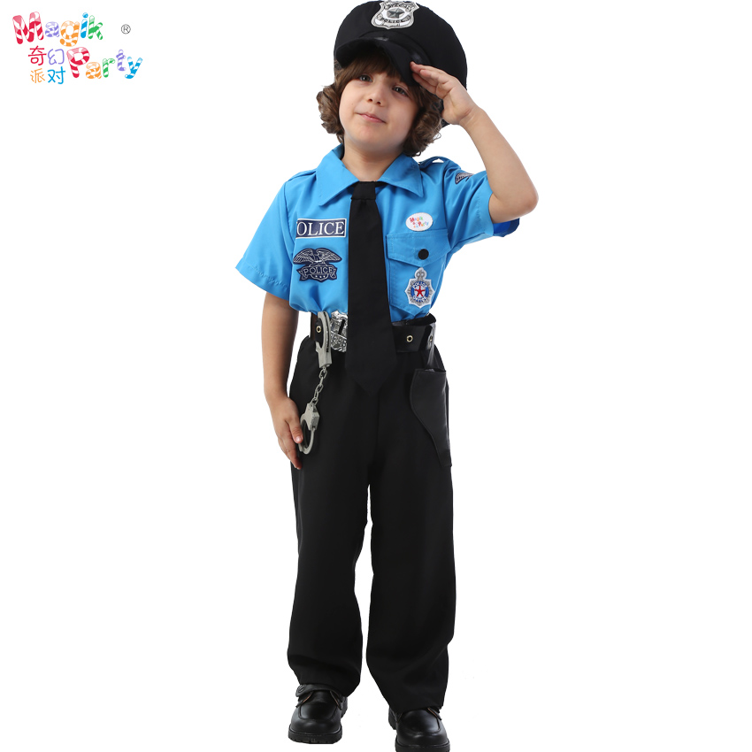 Halloween Children's Costume Cosplay Costume Boys Black Cat Police Chief Costume