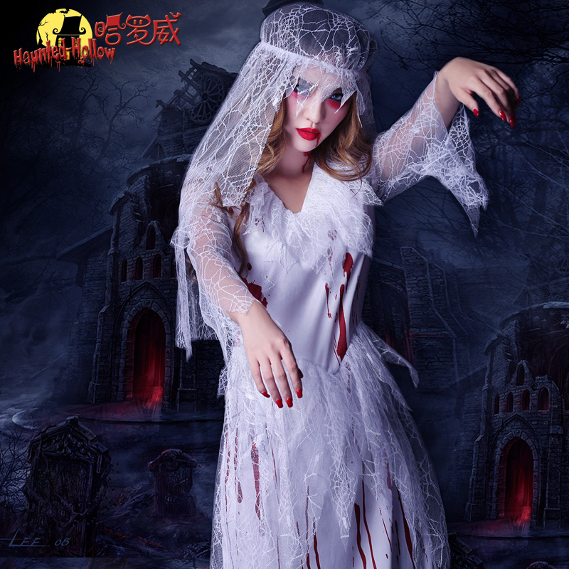 Halloween role playing cosplay costume female ghost bride horror bloody adult zombie Witch Dress
