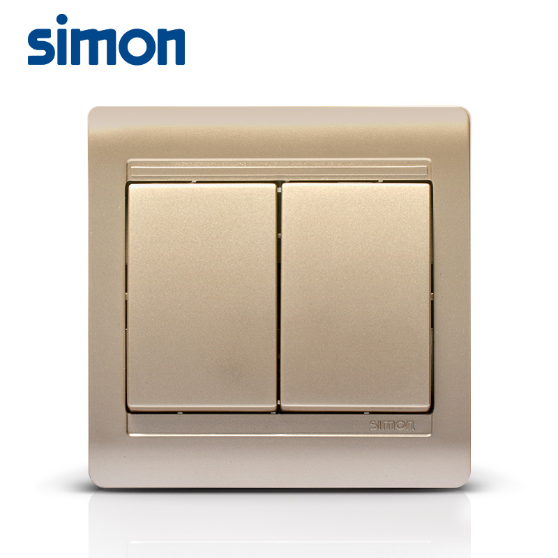 Simon genuine switch socket 55 series champagne gold halfway two open multiple control switch double open three control panel