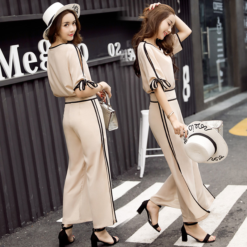 Fashion suit female summer 2017 new casual fashion loose trousers temperament ladies elegant wide leg pants two sets
