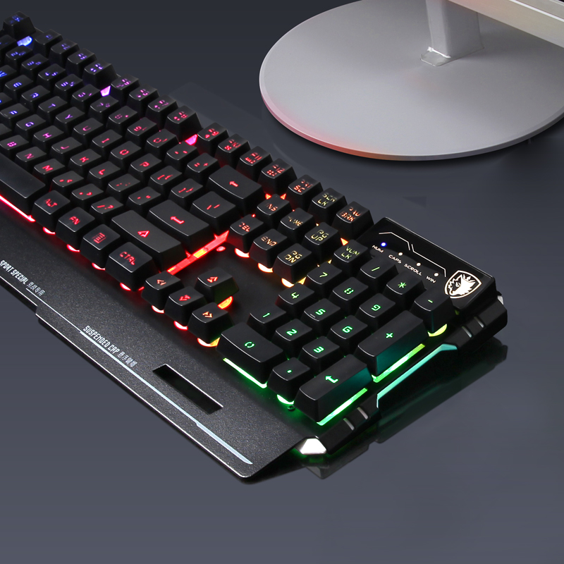 SADES/SEDES Blade Armor Keyboard, Cable Household Desktop Computer, USB Interface, Colorful Luminescent dnf Internet Cafe, Lol Internet Cafe, cf, Chicken Game Competition Special Peripheral Robot Feeling Green Axis