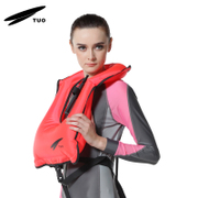 TUO J1308 inflatable buoyancy vest snorkeling equipment with a new upgraded version of CE certified lifeguard whistle