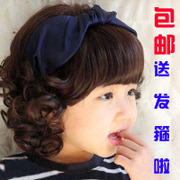 The new Children's Day photography pictures show baby baby girls wig wigs wigs short curly hair headdress