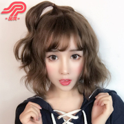 Female hair fluffy wig Pinxiu repair face realistic natural Korean Air Liu Haiduan Bobo head grandma grey hair