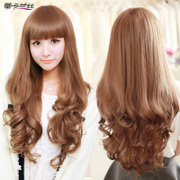 Female wig long curly hair neat bang face big waves in the long hair fluffy lifelike simulation pear head wig