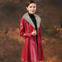 Slim long long sleeve 2017 new single-row two-button lambskin real leather fashion coat