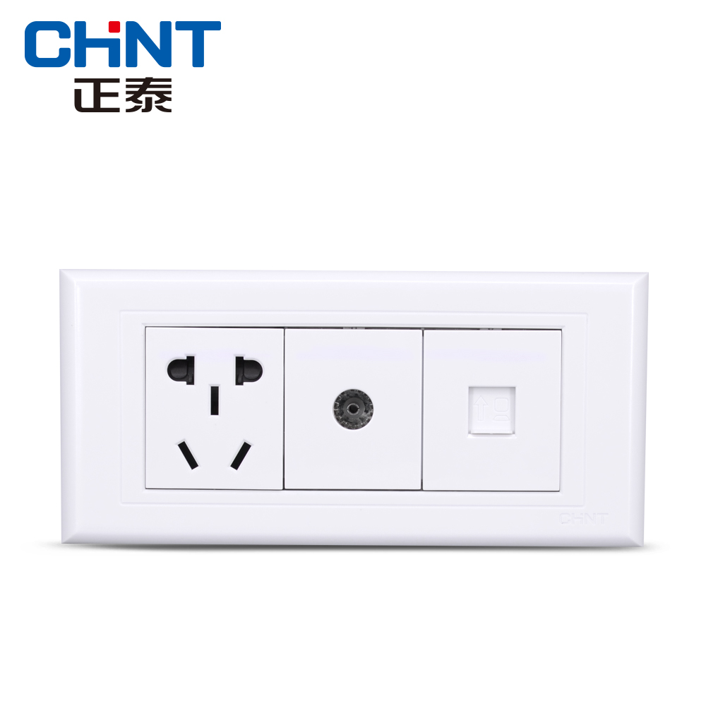 Zhengtai switch socket NEW5G three-in-one TV computer socket small five-hole teeth elegant white
