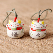 Qing song hand-painted ceramic jewelry clay cat copper bell automobile door trim ornaments hanging bag