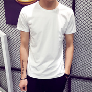 In summer men's t-shirt t-shirt t-shirt bottoming shirt Korean Short Sleeve Shirt Mens White black tide in summer