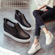 Spring and summer in the Korean female head hollowed out breathable mesh increased leisure all-match white shoe wedges lazy shoes