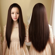 Female wig long straight hair neat bang head half Korean girls hair fluffy hair shave hair set realistic fashion