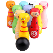 Large solid wood children cartoon animal puzzle game toys baby bowling set of indoor and outdoor 1-3