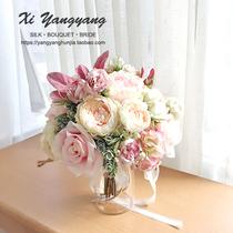 新款 牡丹仿真手捧花新娘结婚摄影道具韩西式婚礼田园甜美豆沙粉