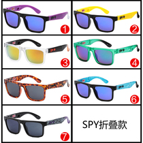 Men 's and women' s fashion sports sunglasses SPY Sunglasses folding paragraph color mercury reflector sunglasses