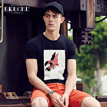 Spring summer 2017 birds new mens short sleeve t shirt embroidery clothes on the Korean version of the current youth