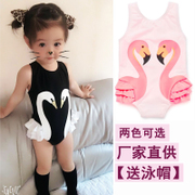 Ins explosion of new spring and summer 2017 Black Swan Flamingo parrot children baby girls one-piece