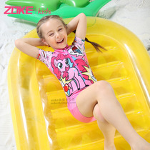 Zoke zoke children swimsuit little burberr BECKY Princess girls one-piece swimsuit sunscreen and quick-drying bathing suits