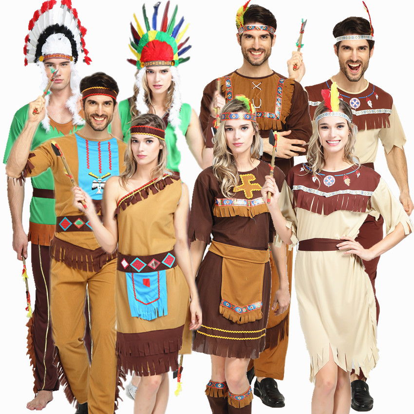 Halloween Cosplay Cosplay costumes adult aboriginal men and women African primitive Indian savages