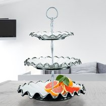 Fruit plate European-style luxury high-end three-tier fruit plate ceramic light luxury modern home living room decoration tea table ornaments