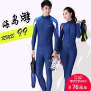 The couple split female diving suit sunscreen clothing over swimsuit surf wear long sleeved wetsuit male clothing snorkeling jellyfish