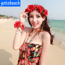 Seaside resort Tour Photos bohemian Wind simulation flower hoop wreath headwear bracelet ring Beach Skirt Accessories