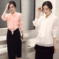 2017 spring new fashion Korean version of the women's shirt Slim tie shirt shirt bow coat long-sleeved chiffon shirt