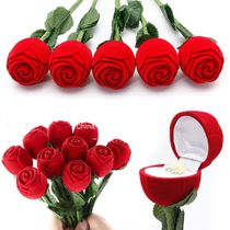 1 Novelty Red Rose Ring Box For Engagement Wedding Earrings