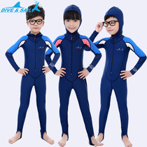 Childrens sunscreen snorkeling suits girls and boys swimming length sleeves one-piece swimwear boys swimwear quick dry diving suit