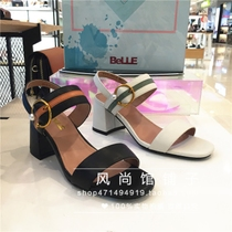 2018 domestic summer cowhide color square head with sandals
