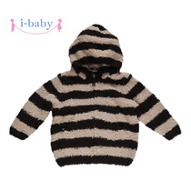 I-baby childrens clothing baby plush baby fall winter coats men and women long sleeve hooded sweater yarn warm down coat