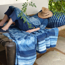 Indigo Quilted La Jastange series Handmade blue dyed prickly bed bedspread was blanket for 10 days delivery