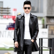 2016 autumn and winter long men's leather coat young Korean version of the Haining code big leather coat thick coat